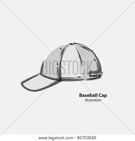 Baseball Cap Cartoon Hat Vector Illustration, easy all editable