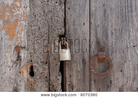 Old wooden door locked