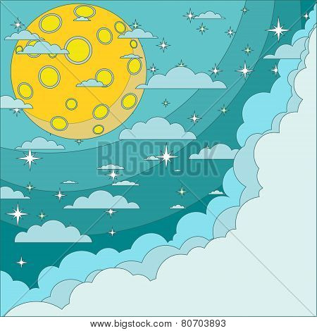 Full moon on background of the night sky, vector illustration