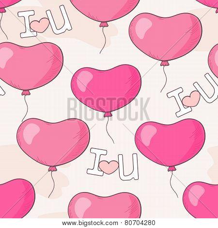 Seamless Pattern With Pink Heart Balloons And Letters
