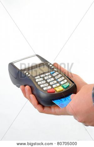 pos terminal and hands isolated