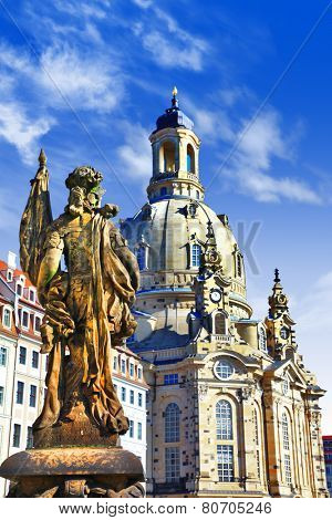 elegant Dresden - view with Fraunkirche cathedral
