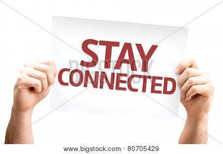 Stay Connected card isolated on white background