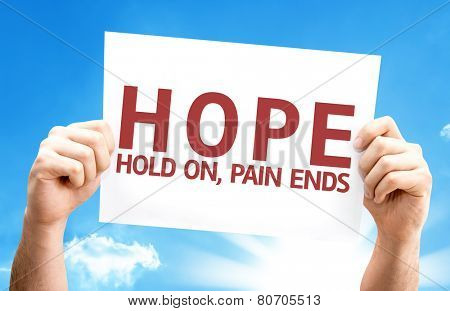 Hope - Hold On, Pain Ends card with a beautiful day