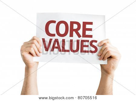 Core Values card isolated on white background