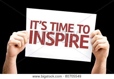 It's Time to Inspire card isolated on black background