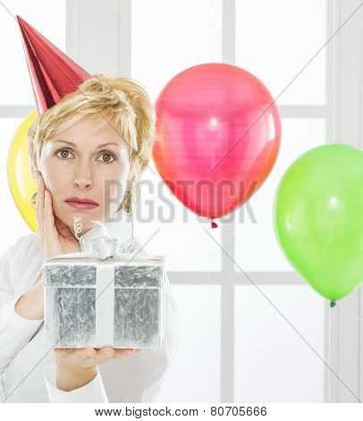 Forty years old woman and celebration