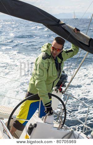 GALAXIDI, GREECE - SEP 29, 2014: Unidentified sailors participate in sailing regatta