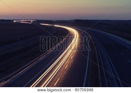 Long road at night