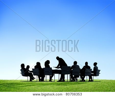 Back Lit Business People Meeting Environmental Conservation Concept