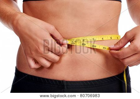 Woman taking waist measurement with tape for thin weightloss healthy slimming diet