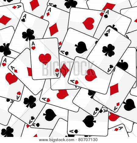 Playing Cards With Four Aces Seamless Pattern Eps10