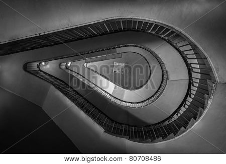 Old spiral staircase. Black and white