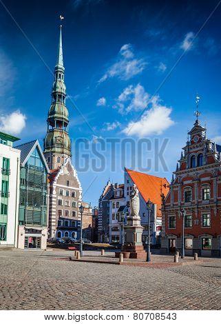 Riga Town Hall Square and St. Peter's Church, Riga, Latvia