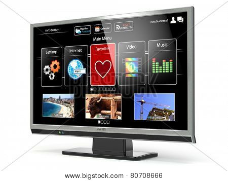 Smart TV flat screen lcd or plasma with web interface isolated on white.Digital broadcasting television. 3d