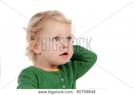 Portrait of a beautiful blond baby isolated on a white background