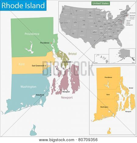 Map of Rhode Island state designed in illustration with the counties and the county seats