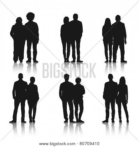 Silhouettes of Casual Couple People in a Row