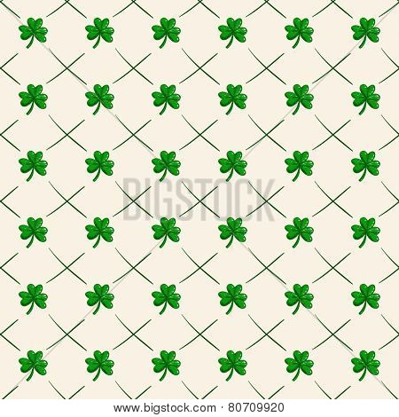 Hand drawn Clover leaf polka dot Seamless background vector