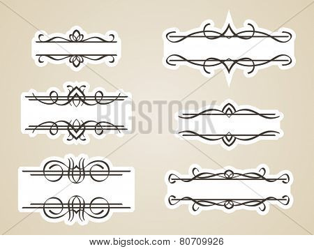 Calligraphic headline frame design element, Vector set