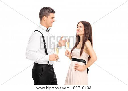 Man and woman having a conversation and drinking wine isolated on white background