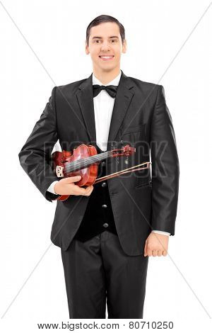 Young violinist holding a violin and posing isolated on white background