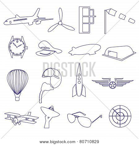 Blue Aeronautical And Aviation Outline Icons Set Eps10