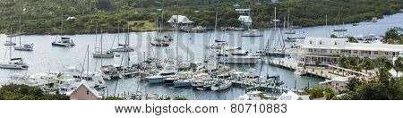 aerial panorama of harbor in Elbow Cay, Bahamas