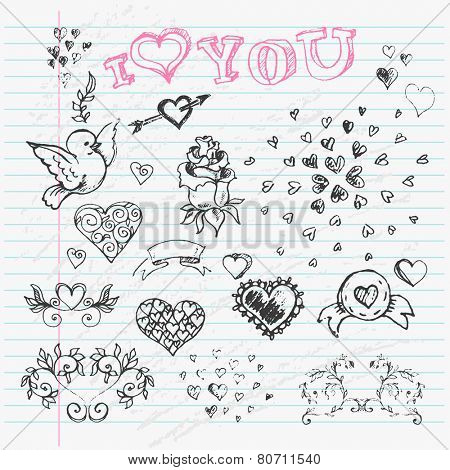 Valentine's Day Love & Hearts Sketch Notebook  design elements on Lined Sketchbook Paper Background. Vector Illustration