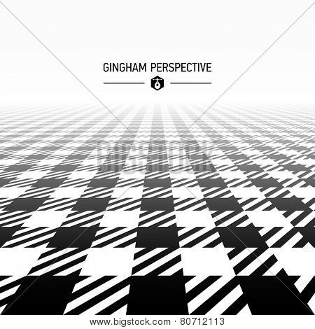 Gingham pattern in perspective. Vector.