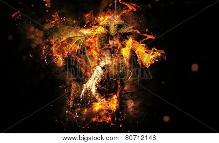 Conceptual Flaming Animal Creature on Black Background with Copy Space.