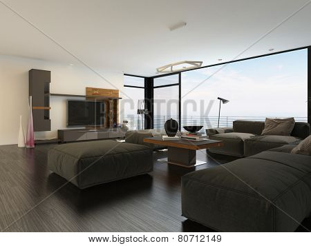 3D Rendering of Large spacious luxury living room interior with view windows and a heavy brown lounge suite on a parquet floor around a large flat screen TV
