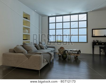 3D Rendering of Living room with a large cottage-pane style window and a large white sofa with decorative ornaments, recessed shelves and a mirror and table on a wooden parquet floor