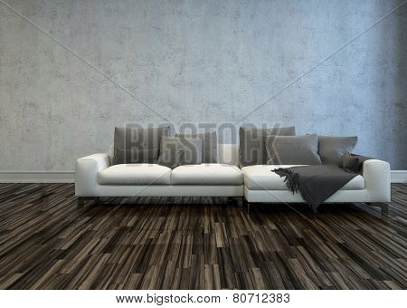 3D Rendering of White Sectional Sofa with Grey Cushions in Bare Room with Hardwood Floor and Grey Walls