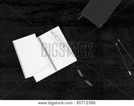 3D Rendering of Worktable Concept - Conceptual White Empty Notebook and Pen with Eye Glasses on Top of Black Wooden Table.