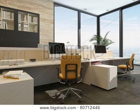3D Rendering of Spacious work environment in a modern office with work stations at a long table overlooked by a large glass window with views of the sky