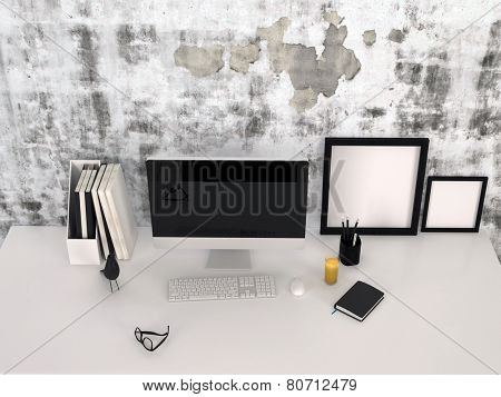3D Rendering of High angle view of a modern grey and white workstation in an office or study with a desktop computer, tablet, empty picture frame, journals and a pair of eyeglasses