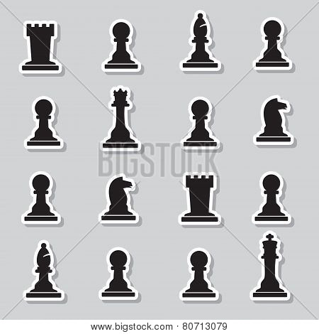 Set Of Black Chess Pieces Stickers Eps10