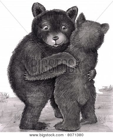 Bear Hug. Two Bears Hugging Out In Nature