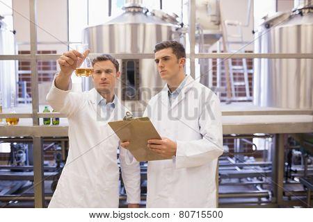 Focused scientist team looking at beaker in the factory