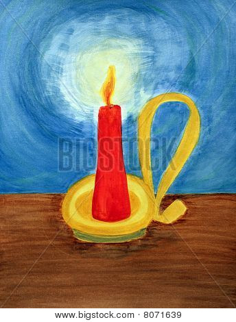 A Red Candle In A Yellow, Gold And Brass Colored Candle Holder