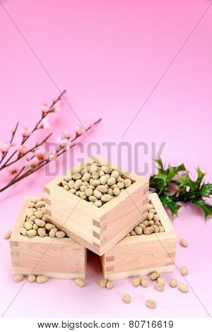 Roasted Soybeans And Holly And Plum Blossoms.