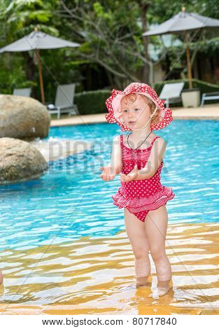 Funny Little Child Girl Near Swimming Pool On  Tropical Resort In Thailand, Phuket. Summer Vacations
