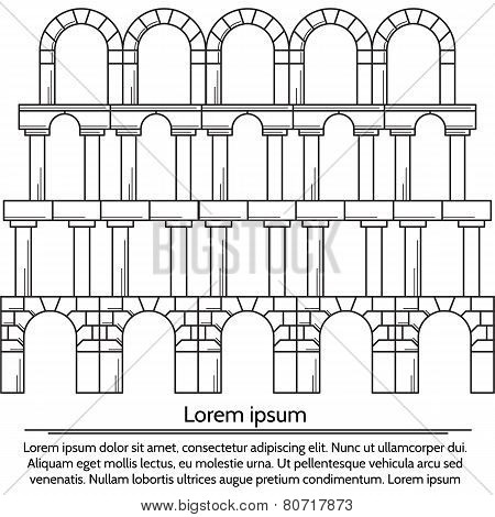 Vector illustration of line design arch structure