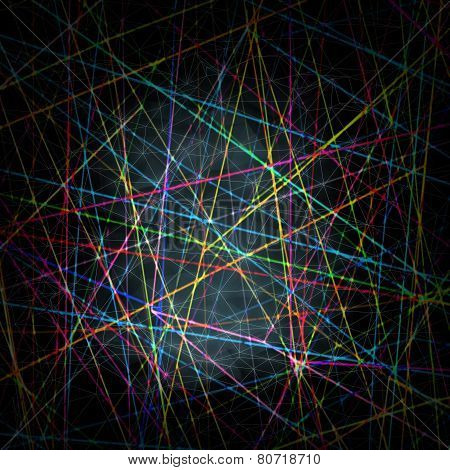 Chaotic Blurred Colorful Lines Pattern On Dark Background