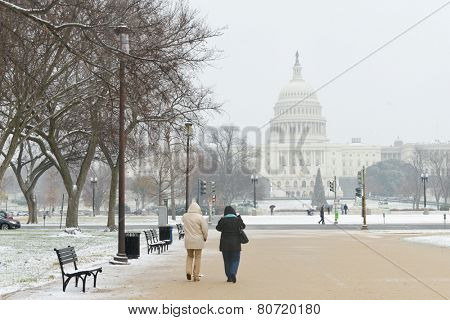 Washington DC in winter - US Capitol and snow