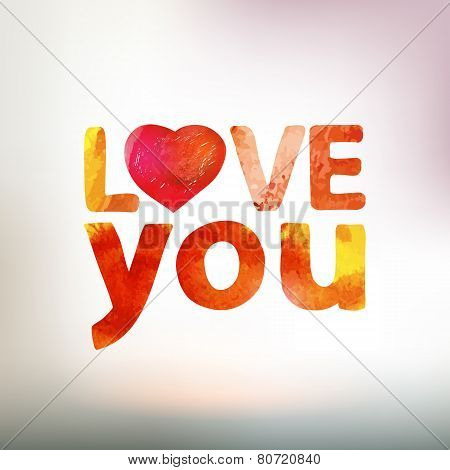 Love You Watercolor Card With Heart