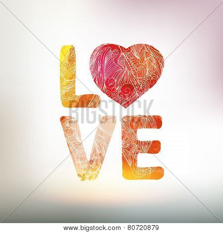 Love You Watercolor Vector Card With Heart And Graphic Elements