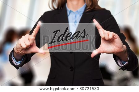 Businesswoman holds ideas sign - business concept