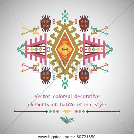 Vector colorful decorative element in native ethnic style